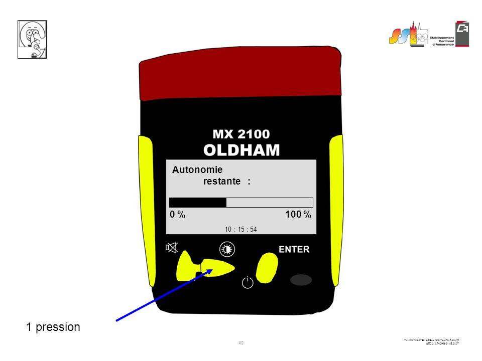 39 TH-MX2100-Pres tableau CO-TL-chb-fi-02.ppt ©ECA LT-CHB-31.05.2007 localisation 10 : 15 : 54 courante Ecublens 1 pression