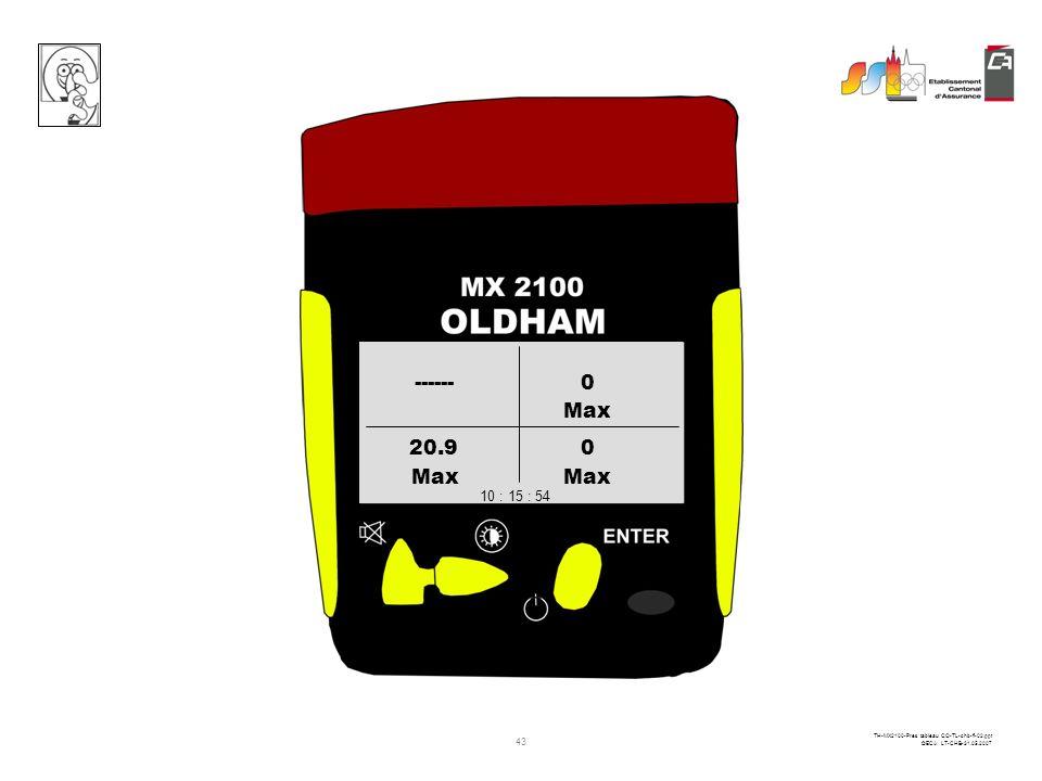 42 TH-MX2100-Pres tableau CO-TL-chb-fi-02.ppt ©ECA LT-CHB-31.05.2007 PPM CO % O2LIE CH4 ------0 20.90 10 : 15 : 54 1 pression