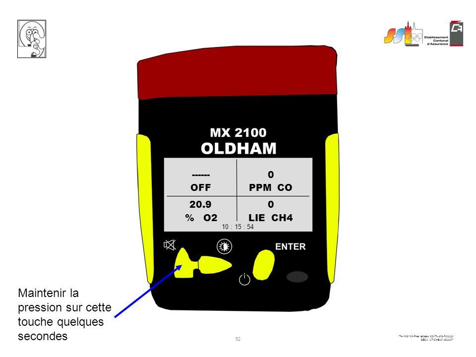 51 TH-MX2100-Pres tableau CO-TL-chb-fi-02.ppt ©ECA LT-CHB-31.05.2007 OFFPPM CO % O2LIE CH4 ------0 20.90 10 : 15 : 54