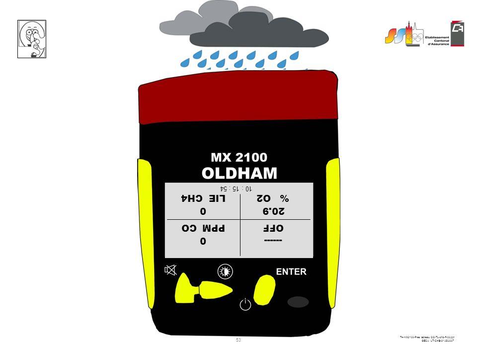 52 TH-MX2100-Pres tableau CO-TL-chb-fi-02.ppt ©ECA LT-CHB-31.05.2007 OFFPPM CO % O2LIE CH4 ------0 20.90 10 : 15 : 54 Maintenir la pression sur cette