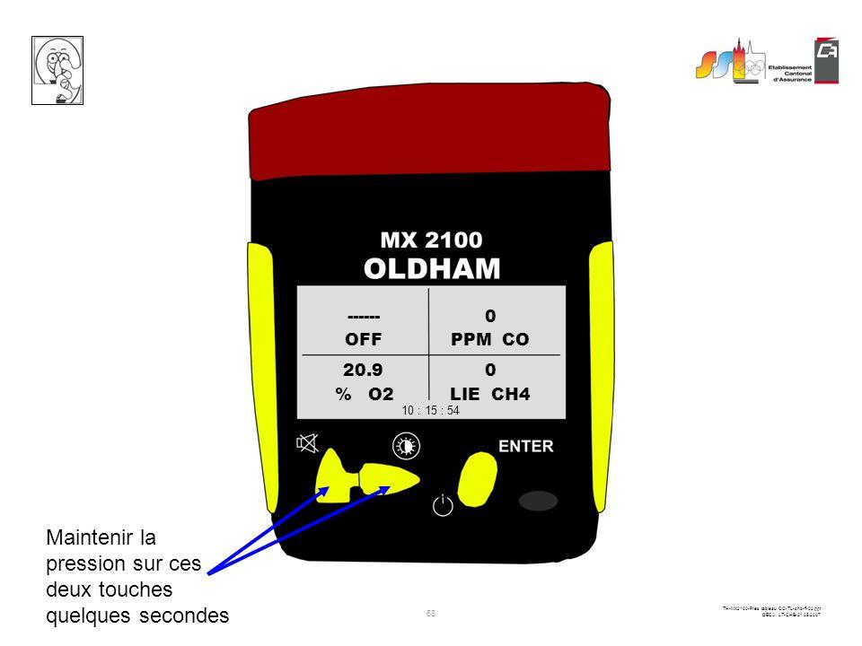 67 TH-MX2100-Pres tableau CO-TL-chb-fi-02.ppt ©ECA LT-CHB-31.05.2007 Noter les valeurs mesurées avant déteindre lappareil