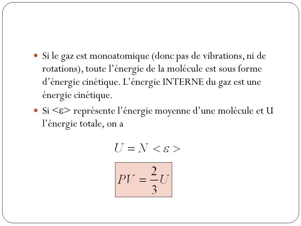 Si le gaz est monoatomique (donc pas de vibrations, ni de rotations), toute lénergie de la molécule est sous forme dénergie cinétique. Lénergie INTERN