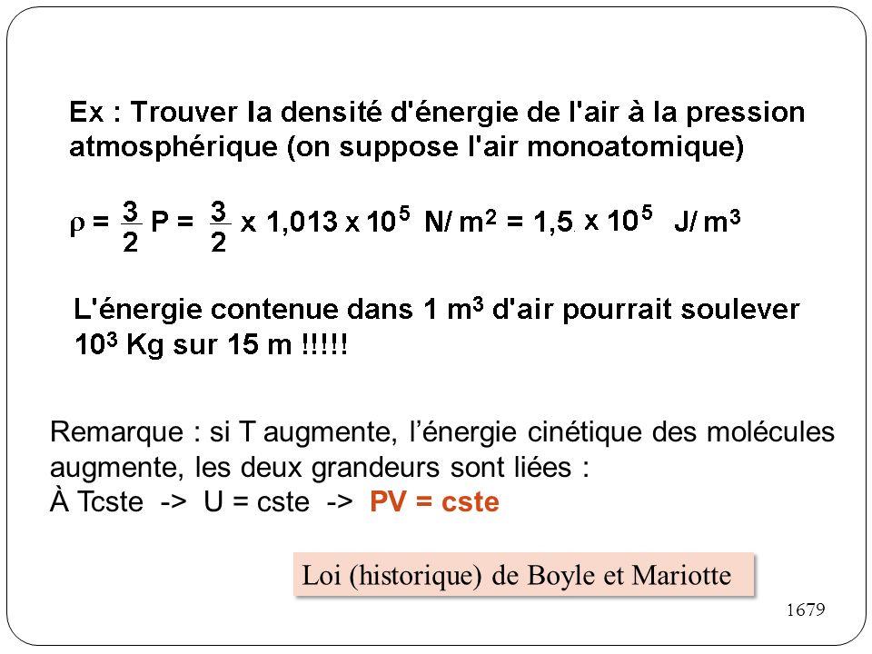 Remarque : si T augmente, lénergie cinétique des molécules augmente, les deux grandeurs sont liées : À Tcste -> U = cste -> PV = cste Loi (historique)