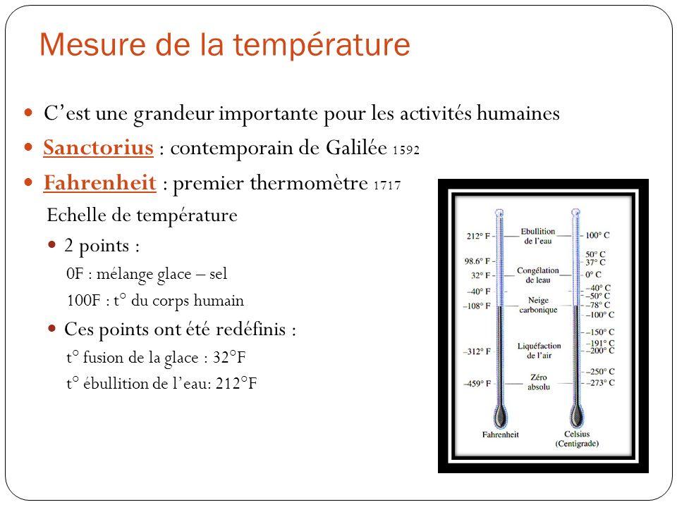 Mesure de la température Cest une grandeur importante pour les activités humaines Sanctorius : contemporain de Galilée 1592 Fahrenheit : premier therm