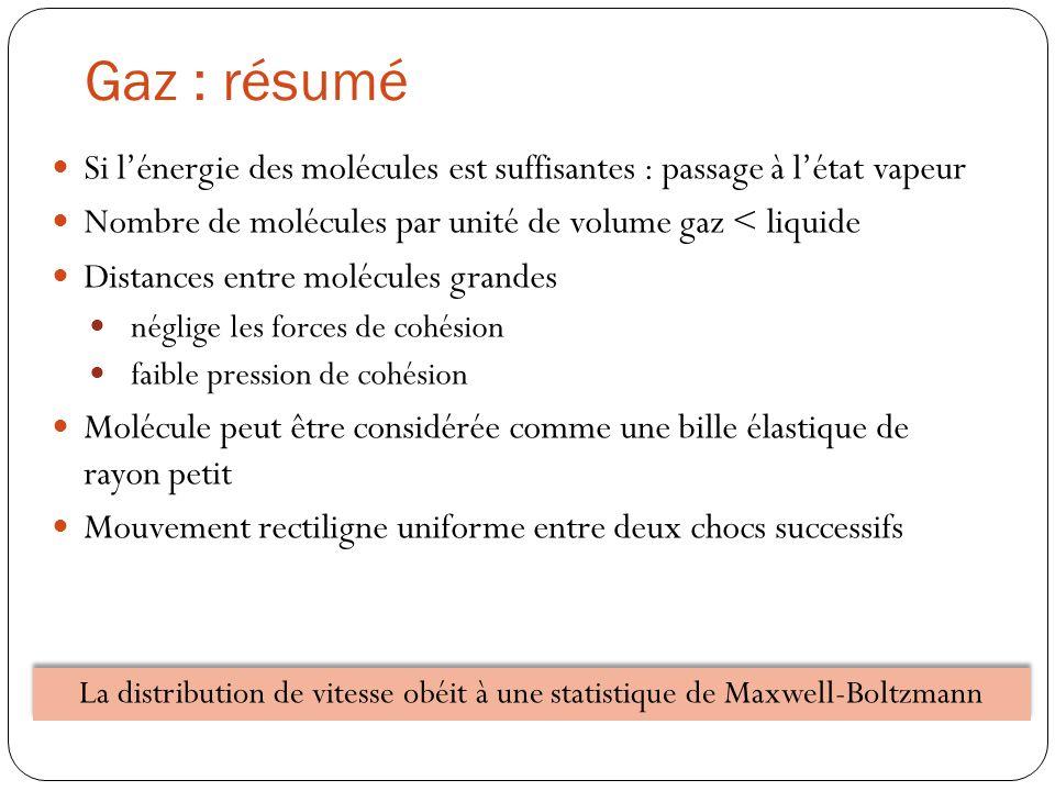 La distribution de vitesse obéit à une statistique de Maxwell-Boltzmann Gaz : résumé Si lénergie des molécules est suffisantes : passage à létat vapeu