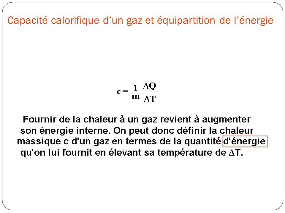 Capacité calorifique dun gaz et équipartition de lénergie