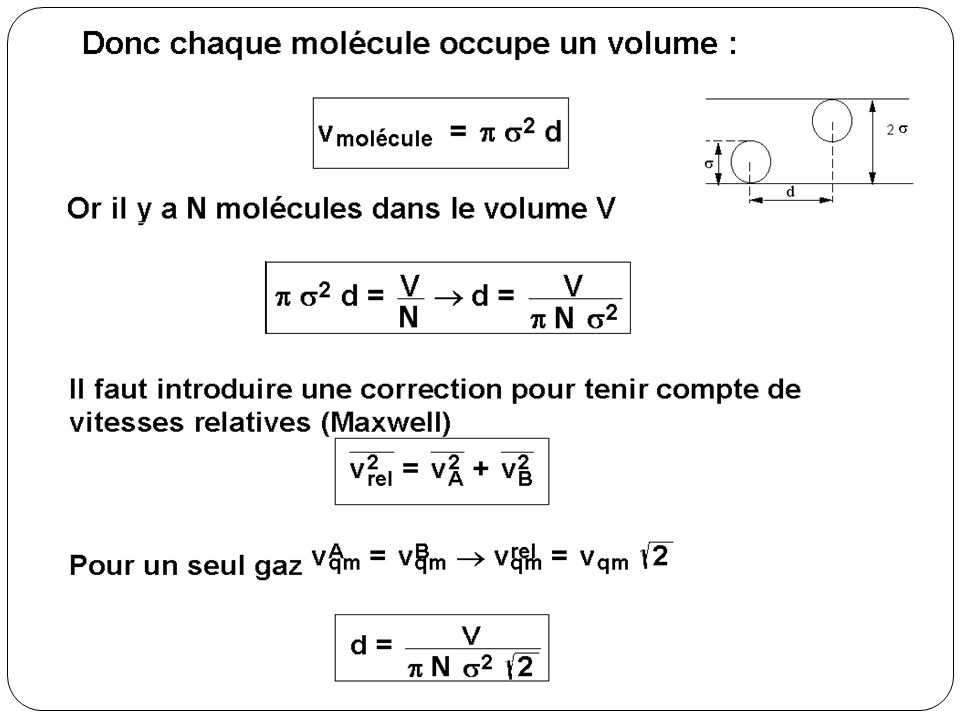 Ordre de grandeur… n=N/V 1 mole ~ 6 10 23 molécules 22,4 litres à 0 C et 1 atmosphère σ ~ 2 Angstroems (10 -10 m)