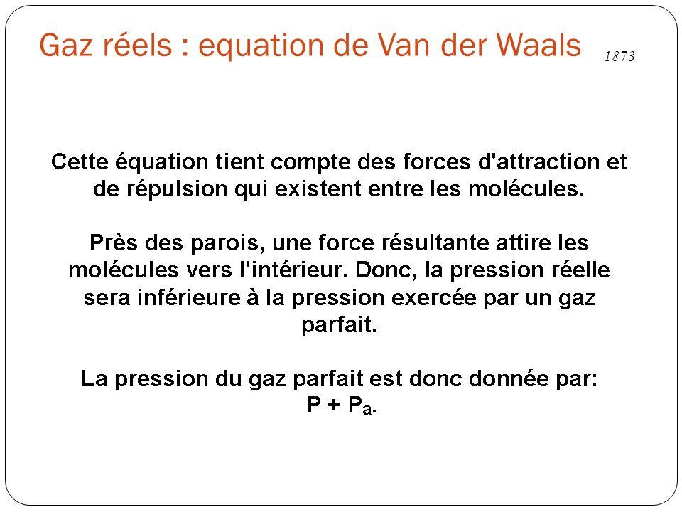 Gaz réels : equation de Van der Waals 1873