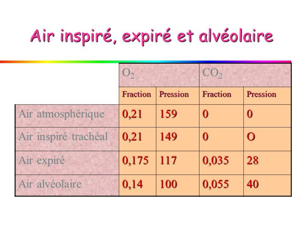 Air inspiré, expiré et alvéolaire O2O2O2O2 CO 2 FractionPressionFractionPression Air atmosphérique 0,2115900 Air inspiré trachéal 0,211490O Air expiré