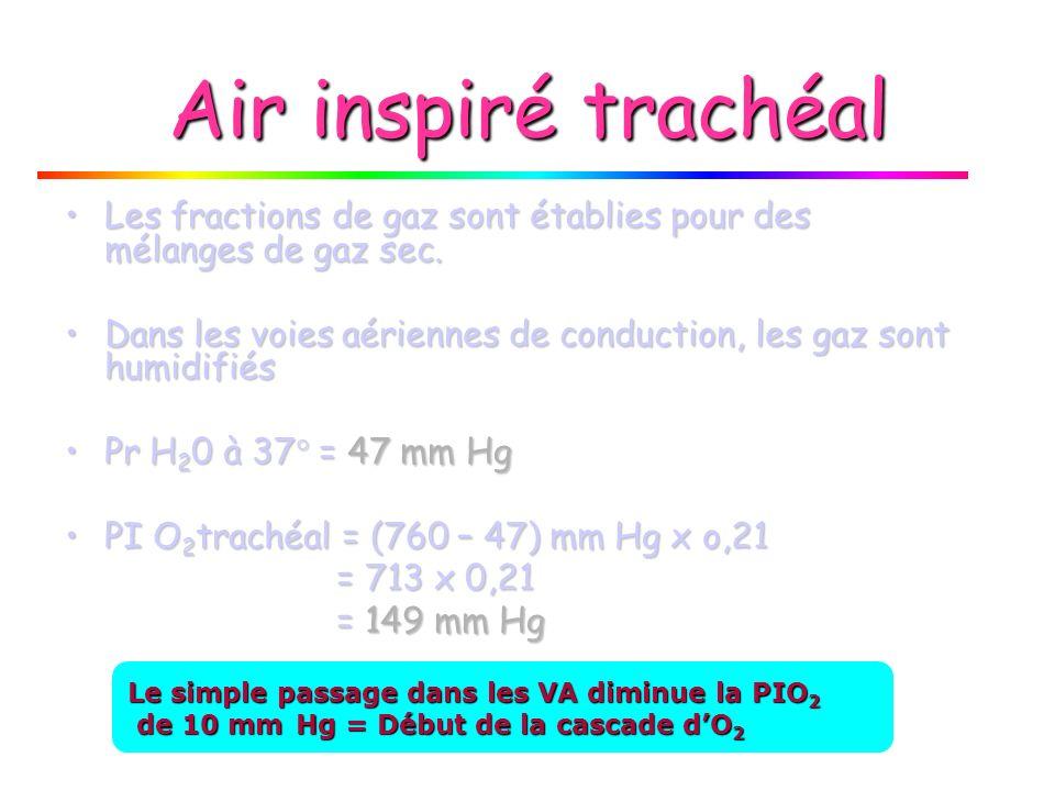 Altitude et P I O 2 P I O 2 P I O 2 P B = F I O 2 P B = F I O 2 0,21 0,21 Altitude En allant de Laltitude O (mer) au Mont Everest FIO 2 reste toujours = 21 %