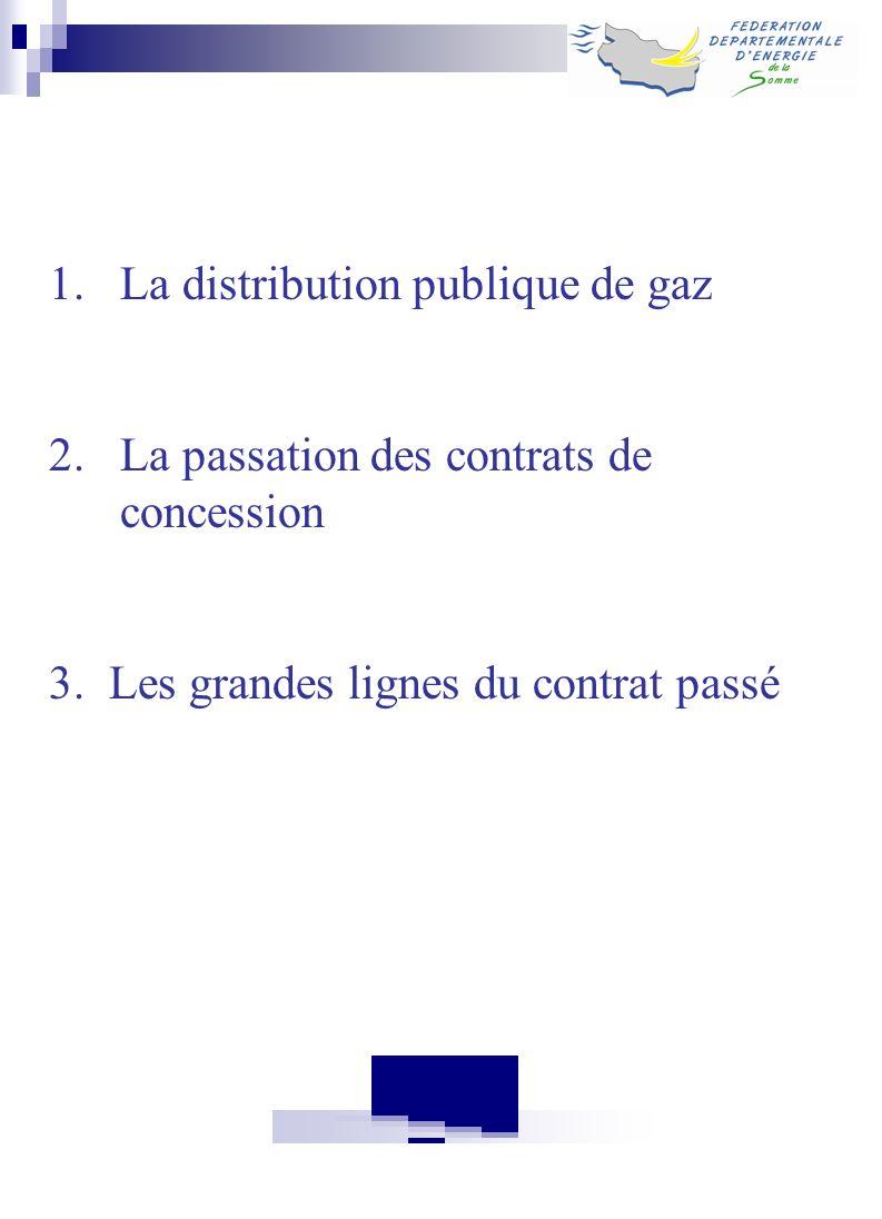1.La distribution publique de gaz 2.La passation des contrats de concession 3. Les grandes lignes du contrat passé