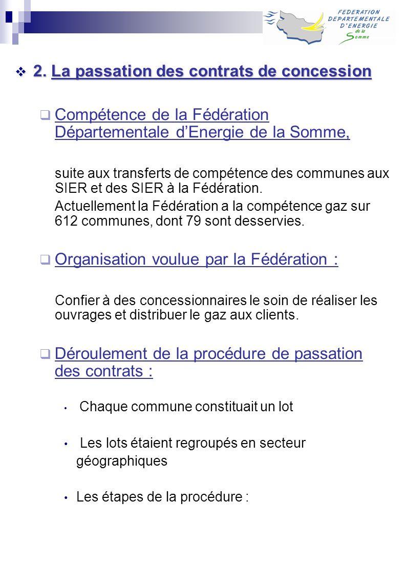 2. La passation des contrats de concession 2. La passation des contrats de concession Compétence de la Fédération Départementale dEnergie de la Somme,