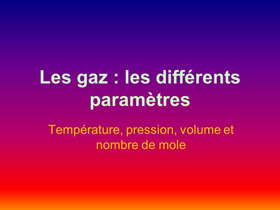 Les gaz : les différents paramètres Température, pression, volume et nombre de mole