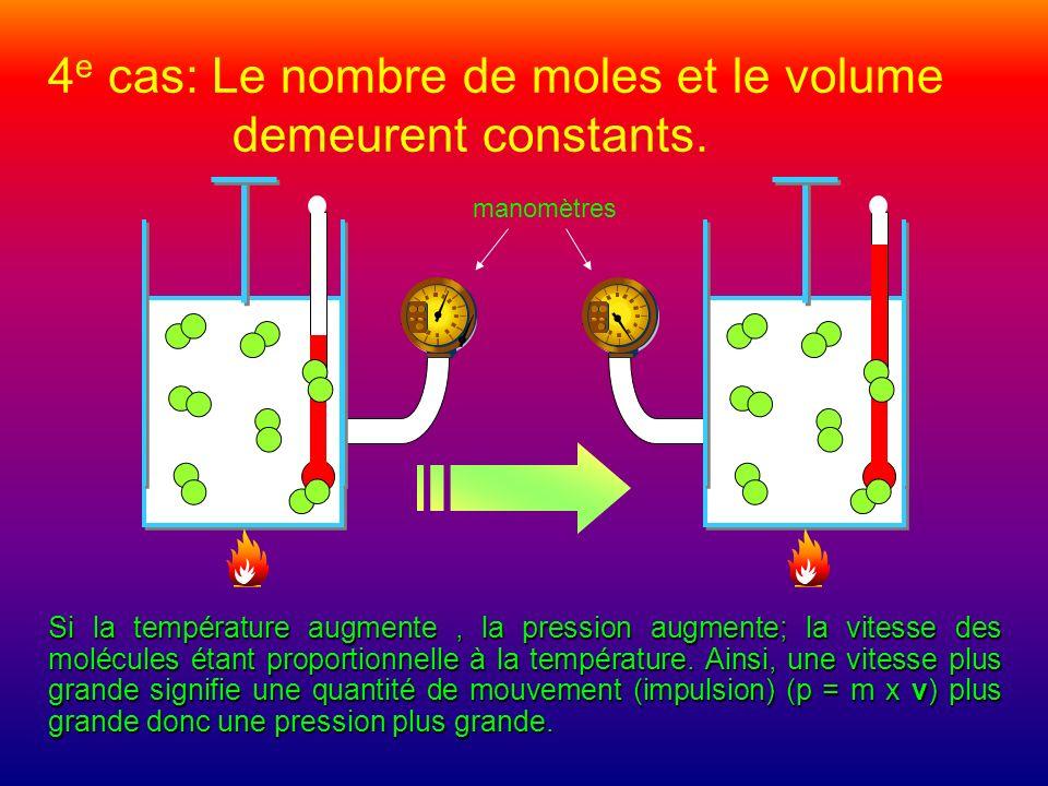 4 e cas: Le nombre de moles et le volume demeurent constants. manomètres Si la température augmente, la pression augmente; la vitesse des molécules ét