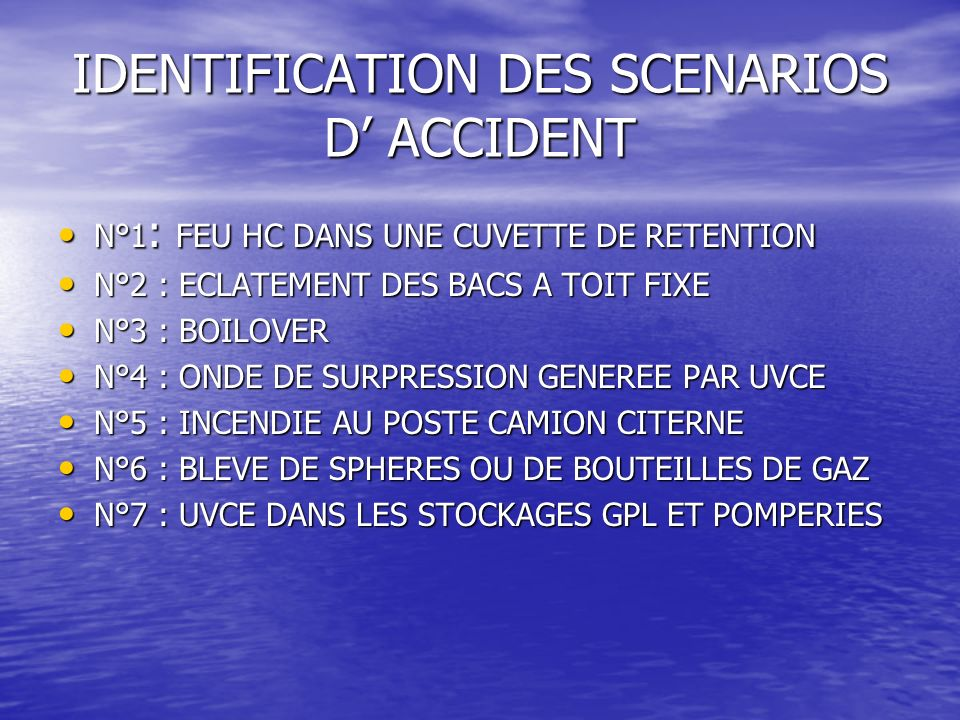 Analyse des risques - Accidentologie DEFINITION: DEFINITION: laccidentologie présente les accidents survenus sur les installations de stockage dhydroc