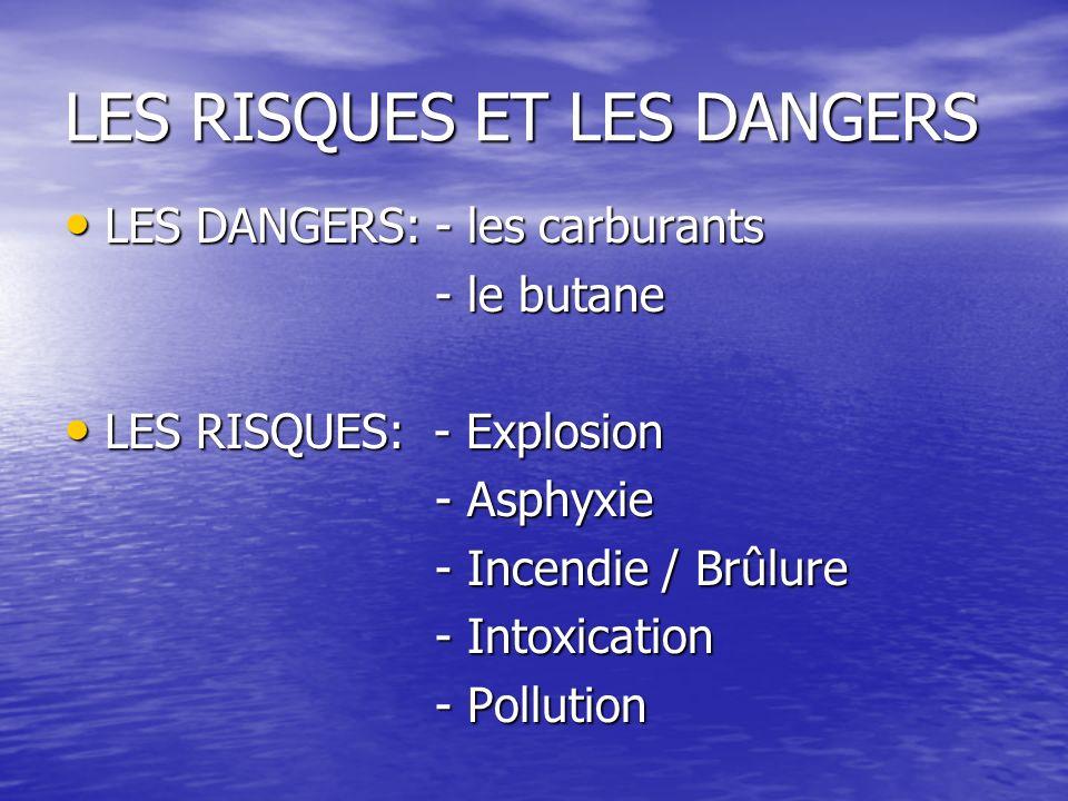 LES RISQUES ET LES DANGERS LES DANGERS: - les carburants LES DANGERS: - les carburants - le butane - le butane LES RISQUES: - Explosion LES RISQUES: - Explosion - Asphyxie - Asphyxie - Incendie / Brûlure - Incendie / Brûlure - Intoxication - Intoxication - Pollution - Pollution