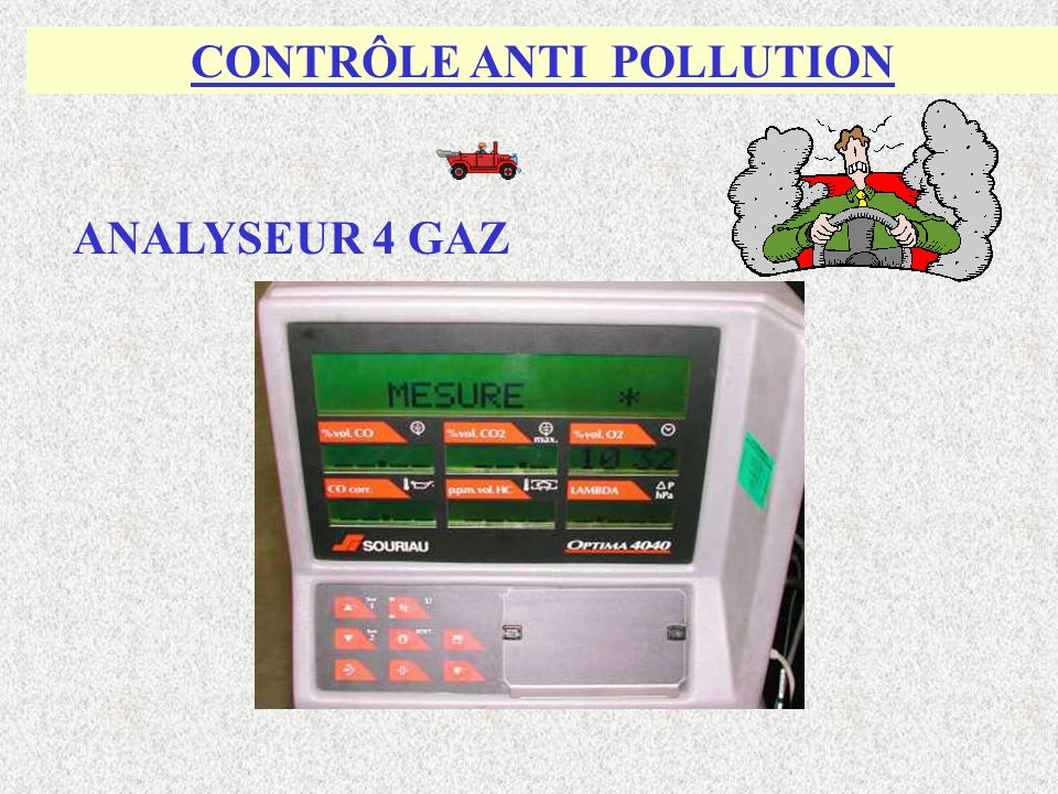 CONTRÔLE ANTI POLLUTION ANALYSEUR 4 GAZ