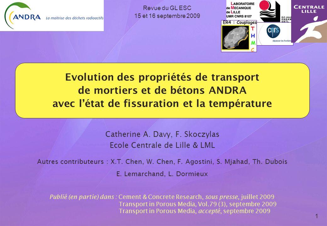 Evolution des propriétés de transport de mortiers et de bétons ANDRA avec létat de fissuration et la température 1 Revue du GL ESC 15 et 16 septembre