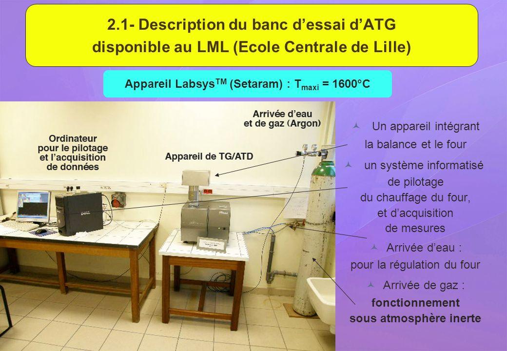 2.1- Description du banc dessai dATG disponible au LML (Ecole Centrale de Lille) Un appareil intégrant la balance et le four un système informatisé de