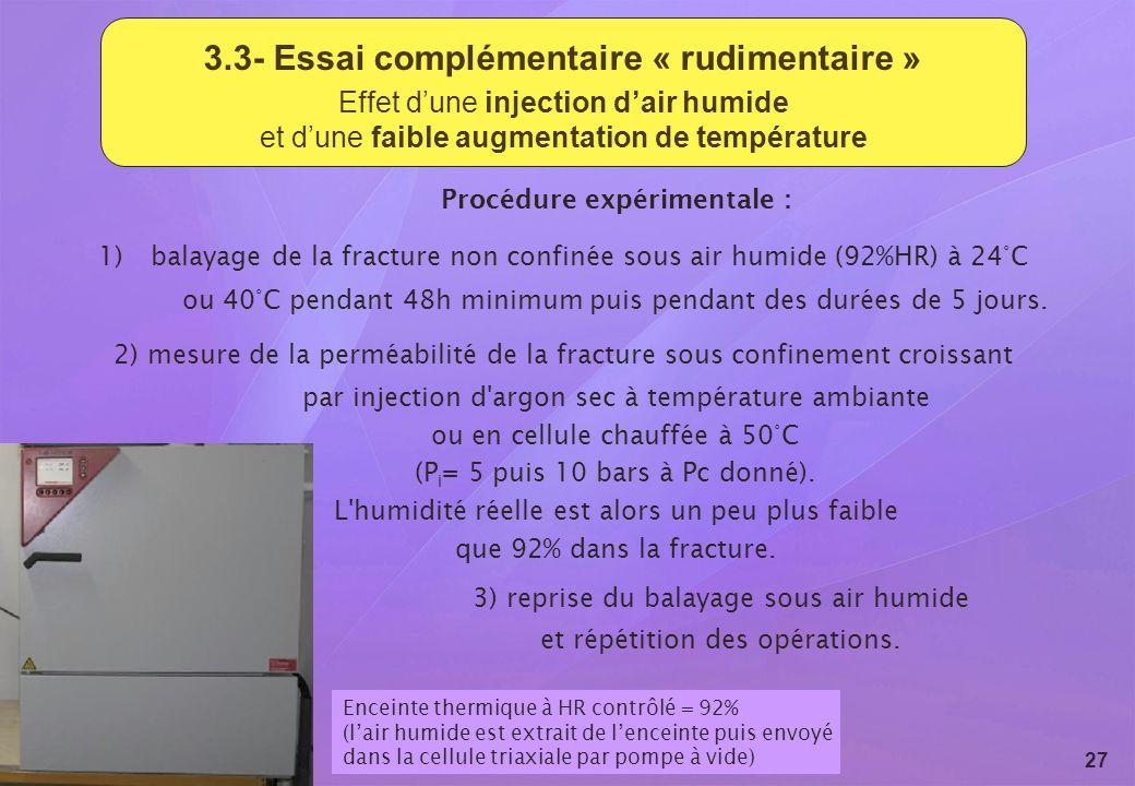 Revue du GL ESC - 15 et 16 septembre 2009 27 3.3- Essai complémentaire « rudimentaire » Effet dune injection dair humide et dune faible augmentation d