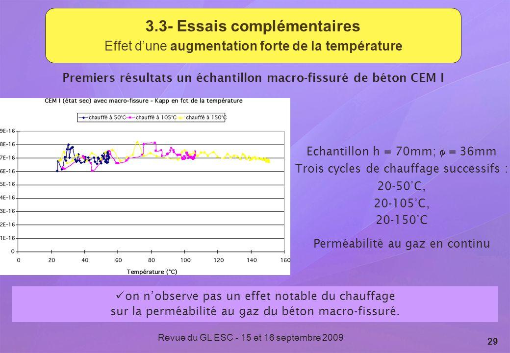 Revue du GL ESC - 15 et 16 septembre 2009 29 3.3- Essais complémentaires Effet dune augmentation forte de la température Premiers résultats un échanti