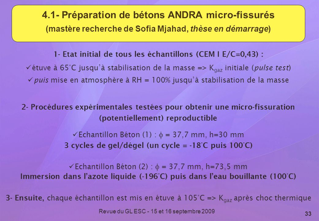 Revue du GL ESC - 15 et 16 septembre 2009 33 4.1- Préparation de bétons ANDRA micro-fissurés (mastère recherche de Sofia Mjahad, thèse en démarrage) 2