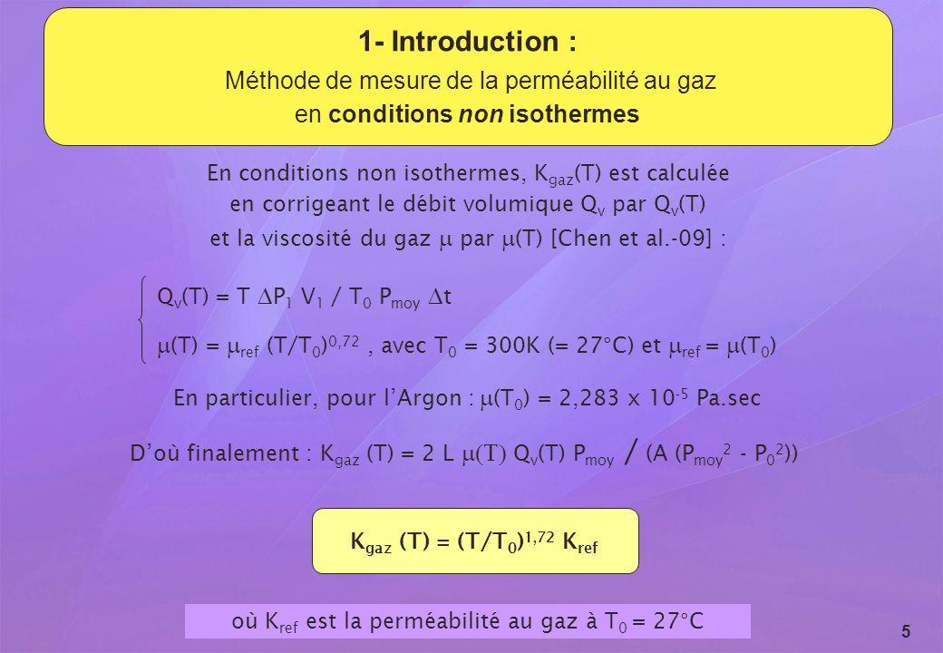 Revue du GL ESC - 15 et 16 septembre 2009 5 1- Introduction : Méthode de mesure de la perméabilité au gaz en conditions non isothermes En conditions n