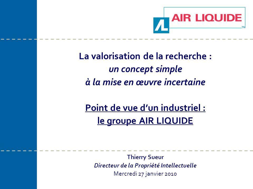 La valorisation de la recherche : un concept simple à la mise en œuvre incertaine Point de vue dun industriel : le groupe AIR LIQUIDE Thierry Sueur Di