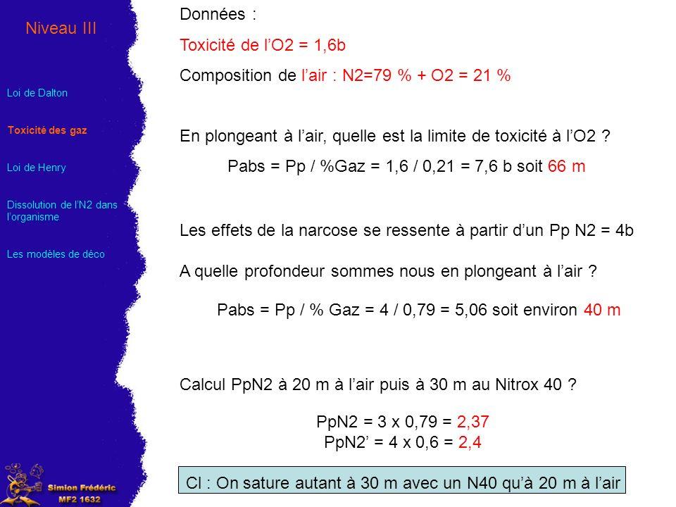Données : Toxicité de lO2 = 1,6b Composition de lair : N2=79 % + O2 = 21 % En plongeant à lair, quelle est la limite de toxicité à lO2 ? Pabs = Pp / %
