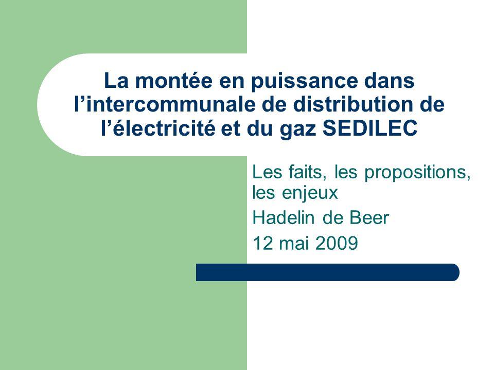 La montée en puissance dans lintercommunale de distribution de lélectricité et du gaz SEDILEC Les faits, les propositions, les enjeux Hadelin de Beer