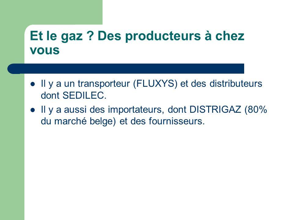 Et le gaz ? Des producteurs à chez vous Il y a un transporteur (FLUXYS) et des distributeurs dont SEDILEC. Il y a aussi des importateurs, dont DISTRIG