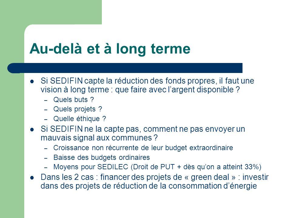 Au-delà et à long terme Si SEDIFIN capte la réduction des fonds propres, il faut une vision à long terme : que faire avec largent disponible ? – Quels