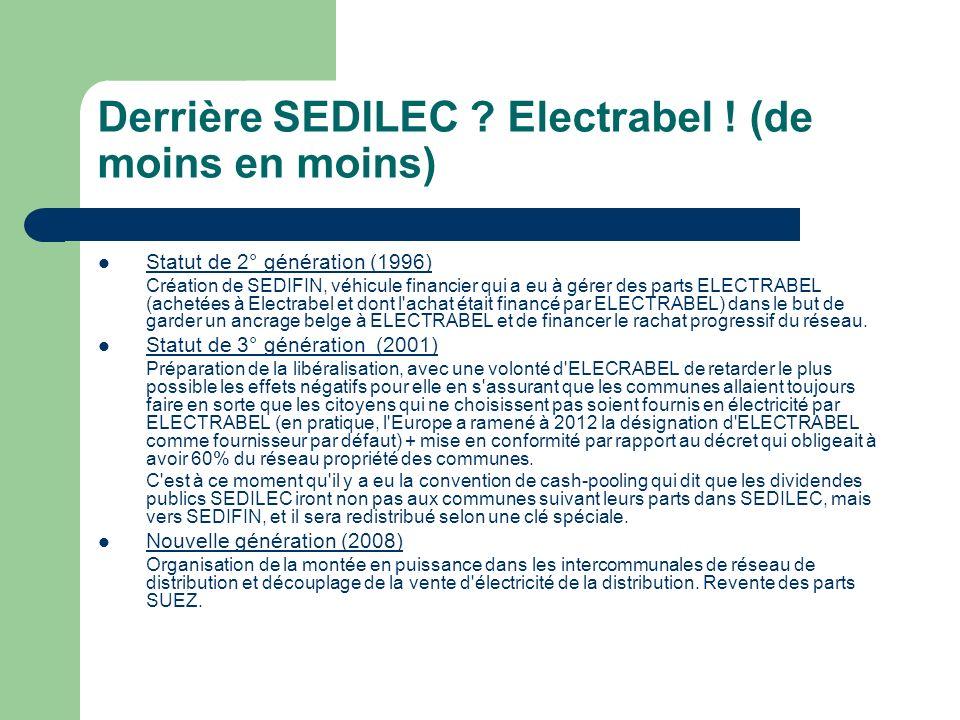 Derrière SEDILEC ? Electrabel ! (de moins en moins) Statut de 2° génération (1996) Création de SEDIFIN, véhicule financier qui a eu à gérer des parts