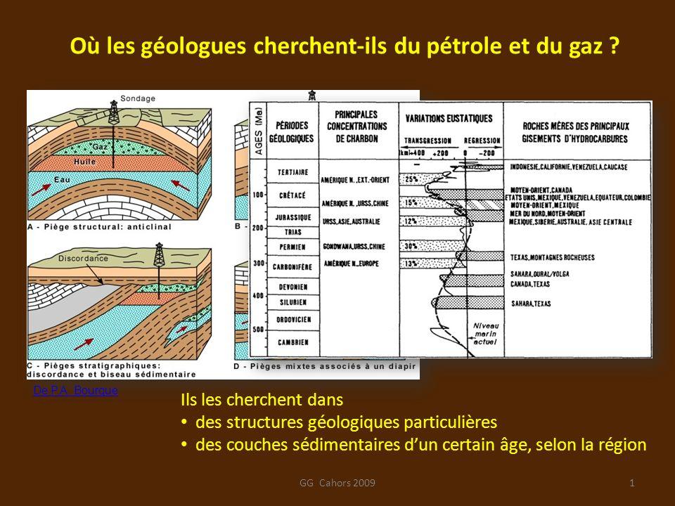 Où les géologues cherchent-ils du pétrole et du gaz ? Ils les cherchent dans des structures géologiques particulières des couches sédimentaires dun ce