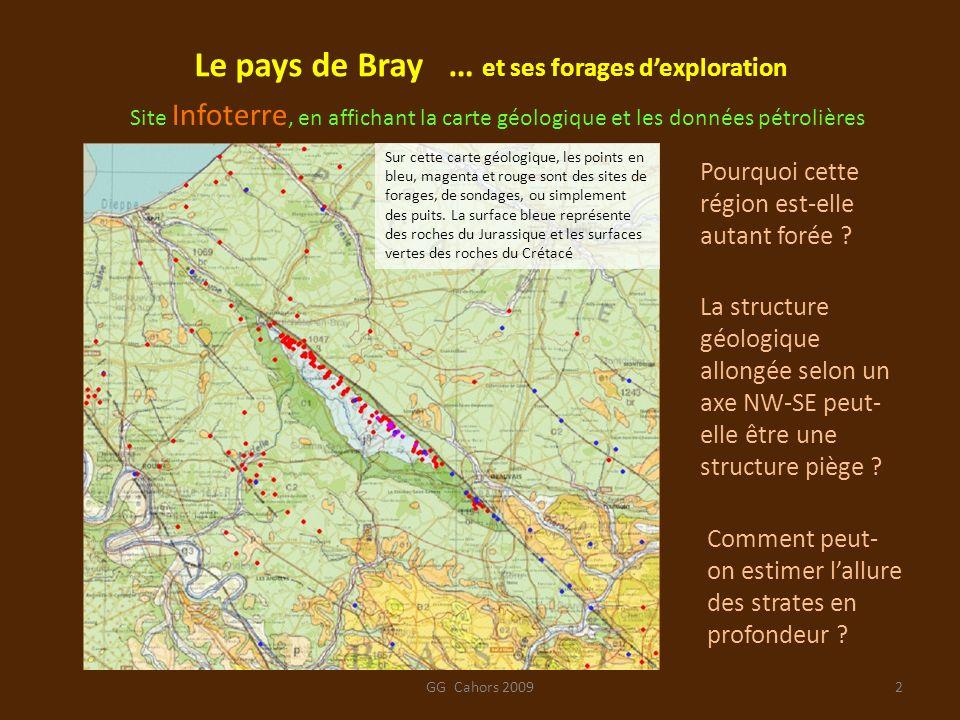 GG Cahors 20093 Une exploration détaillée des données disponibles sur le site Infoterre permet de sélectionner quelques forages intéressants par leur localisation et leur profondeur.