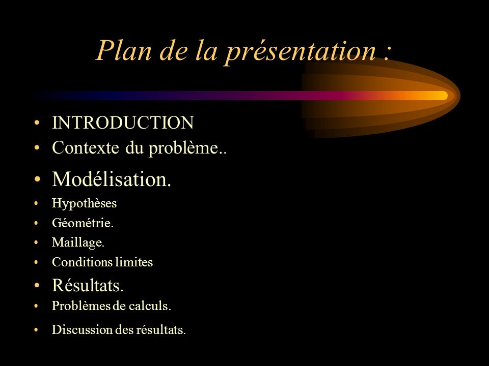 Plan de la présentation : INTRODUCTION Contexte du problème..
