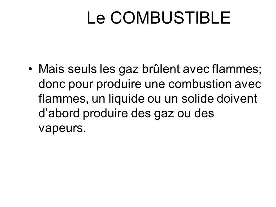 Le COMBUSTIBLE Grandeurs physiques : des gaz –densité, vitesse de diffusion des liquides –densité liquide & vapeur, température débullition, tension d