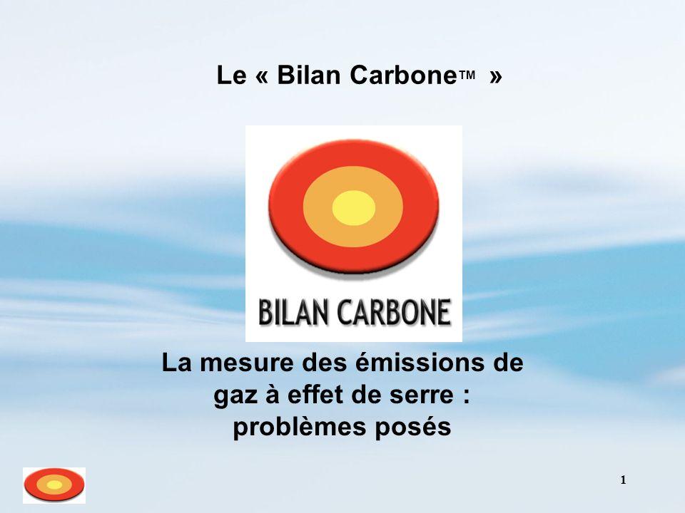 1 Le « Bilan Carbone TM » La mesure des émissions de gaz à effet de serre : problèmes posés
