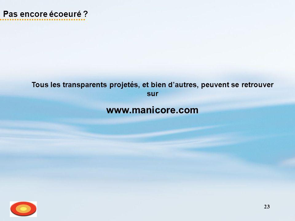 23 Pas encore écoeuré ? Tous les transparents projetés, et bien dautres, peuvent se retrouver sur www.manicore.com