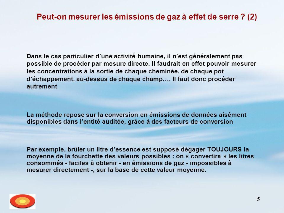 5 Peut-on mesurer les émissions de gaz à effet de serre ? (2) Dans le cas particulier dune activité humaine, il nest généralement pas possible de proc