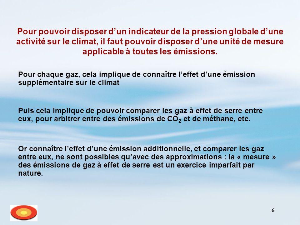 7 Comment comparer les gaz à effet de serre .