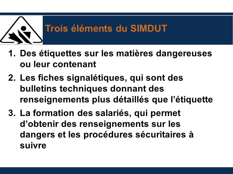 Trois éléments du SIMDUT 1.Des étiquettes sur les matières dangereuses ou leur contenant 2.Les fiches signalétiques, qui sont des bulletins techniques