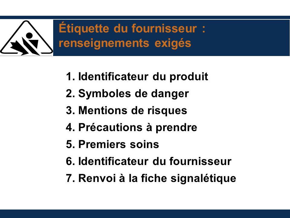 Étiquette du fournisseur : renseignements exigés 1. Identificateur du produit 2. Symboles de danger 3. Mentions de risques 4. Précautions à prendre 5.