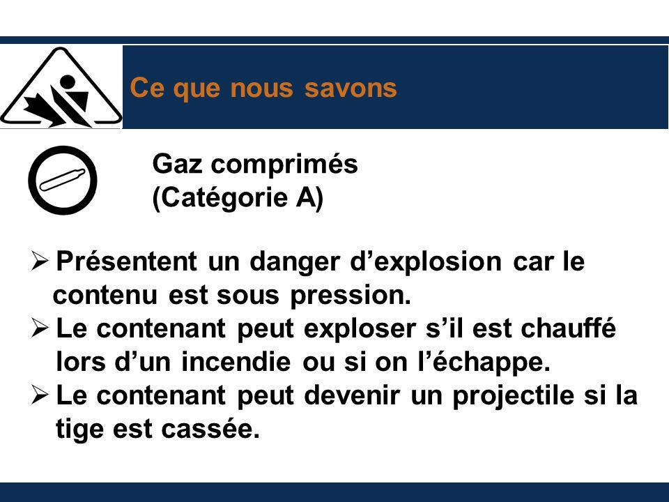 Ce que nous savons Gaz comprimés (Catégorie A) Présentent un danger dexplosion car le contenu est sous pression. Le contenant peut exploser sil est ch