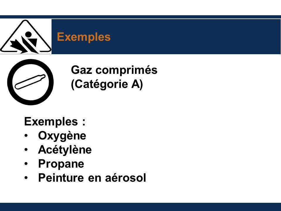 Exemples Gaz comprimés (Catégorie A) Exemples : Oxygène Acétylène Propane Peinture en aérosol