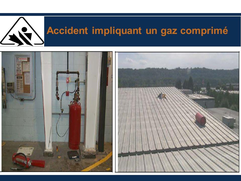 Accident impliquant un gaz comprimé