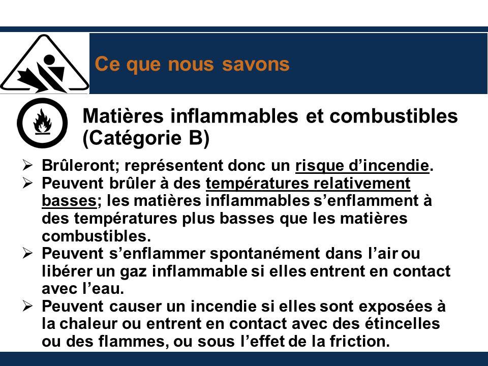Ce que nous savons Matières inflammables et combustibles (Catégorie B) Brûleront; représentent donc un risque dincendie. Peuvent brûler à des températ