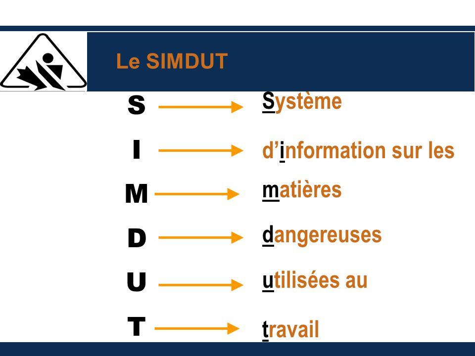 S I M D U T Système dinformation sur les matières dangereuses utilisées au travail