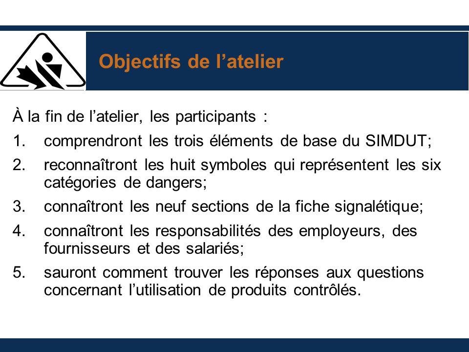 Objectifs de latelier À la fin de latelier, les participants : 1.comprendront les trois éléments de base du SIMDUT; 2.reconnaîtront les huit symboles
