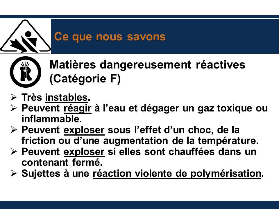 Ce que nous savons Matières dangereusement réactives (Catégorie F) Très instables. Peuvent réagir à leau et dégager un gaz toxique ou inflammable. Peu